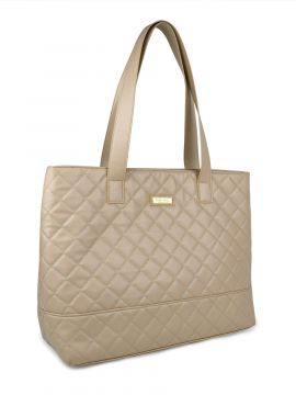 Anne Quilted Tan Large Tote