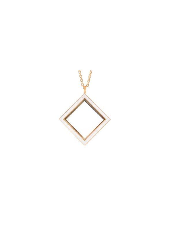 Gold Diamond Locket with White Enamel