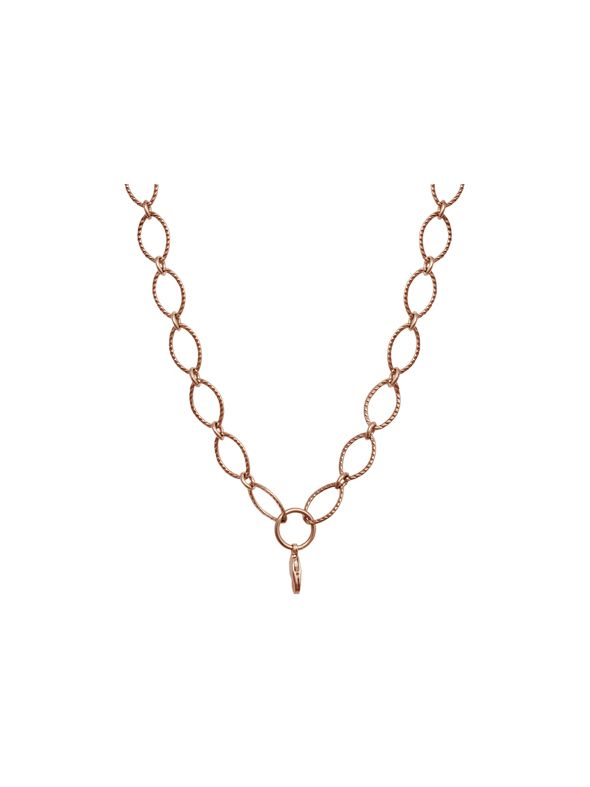 """Rose Gold Textured Oval Link Chain - 32"""""""
