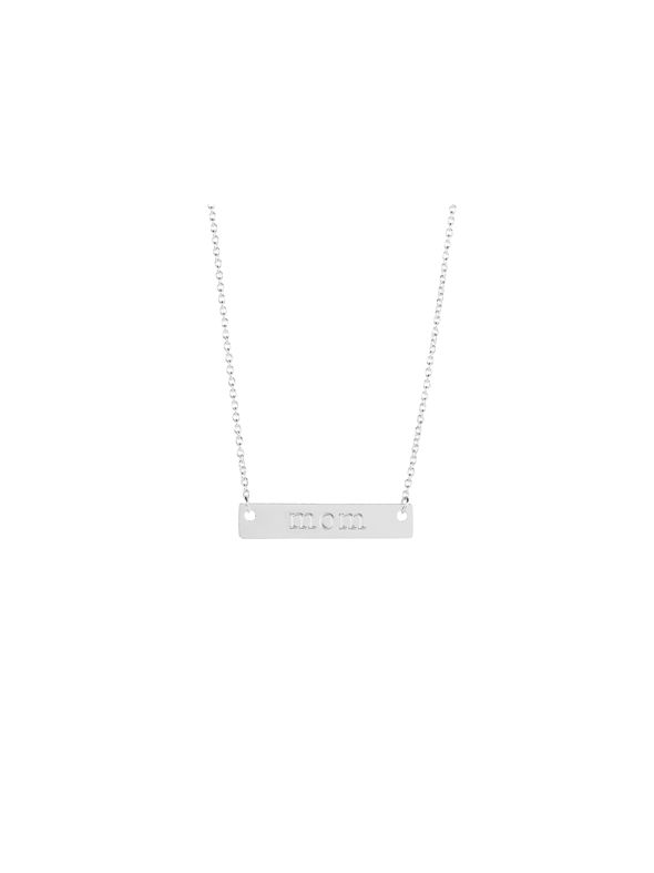 Silver 'Mom' Bar Necklace - 16""